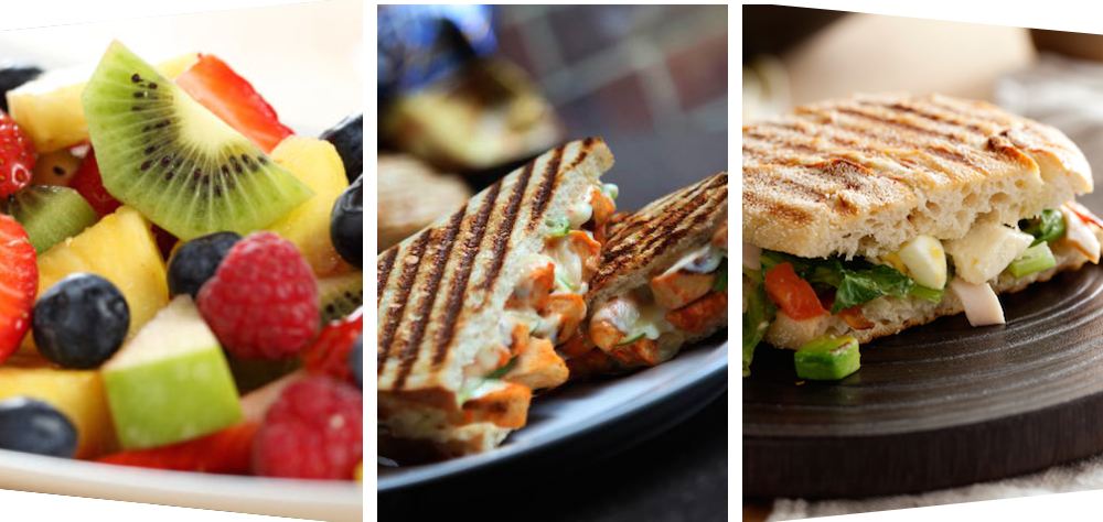 fruits, salad and sandwich